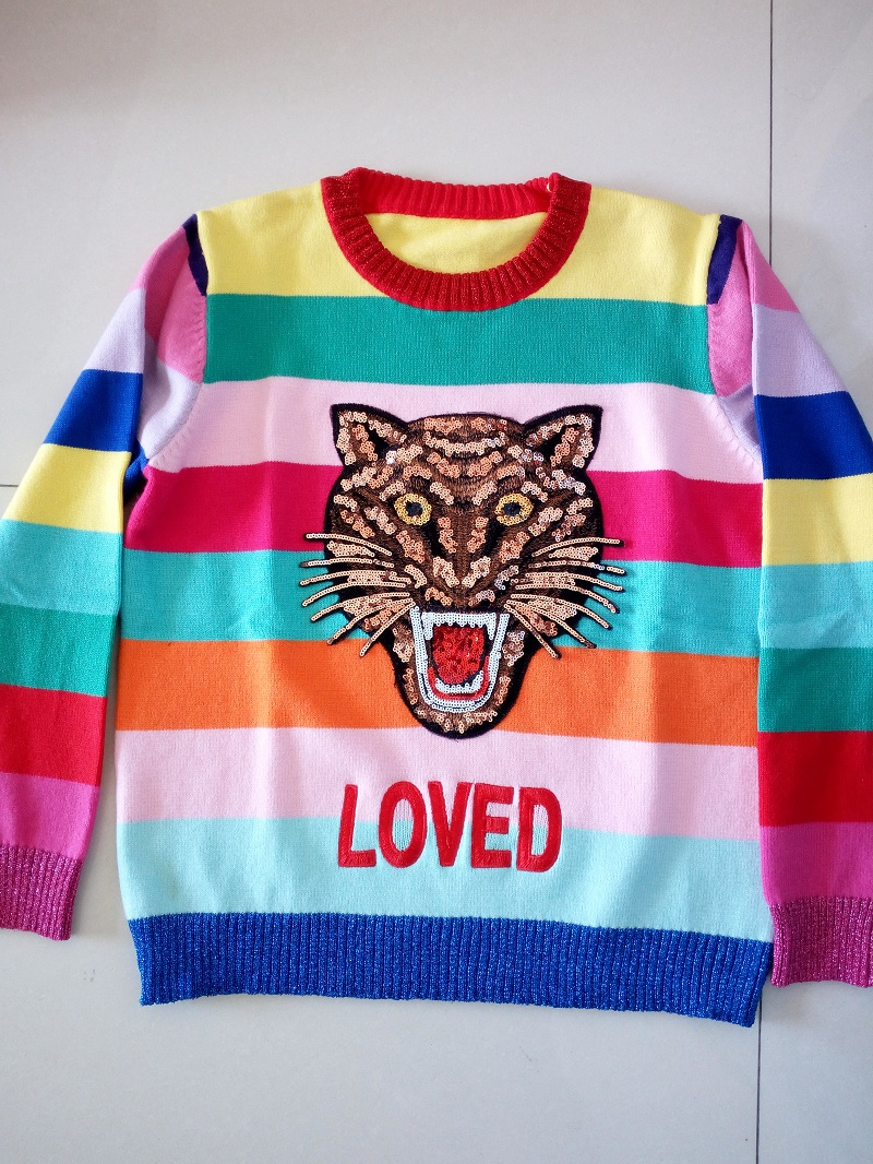 2017 new arrival fashion emboriedery sweaters and colored stripe r women sweaters pullover lion tops for femme