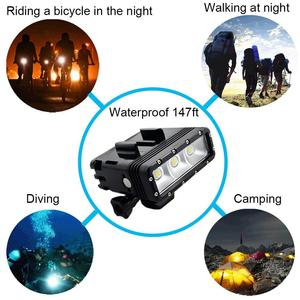Image 2 - Dual Battery Diving Flash Light Underwater Led Fill Light For Gopro Hero8 7 6 5 4 Session 3+3 Xiaomi yi 4K Insta360 Accessories