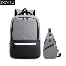 DINGXINYIZU student waterproof school backpack anti theft bag set sling chest for men bags teenage boys