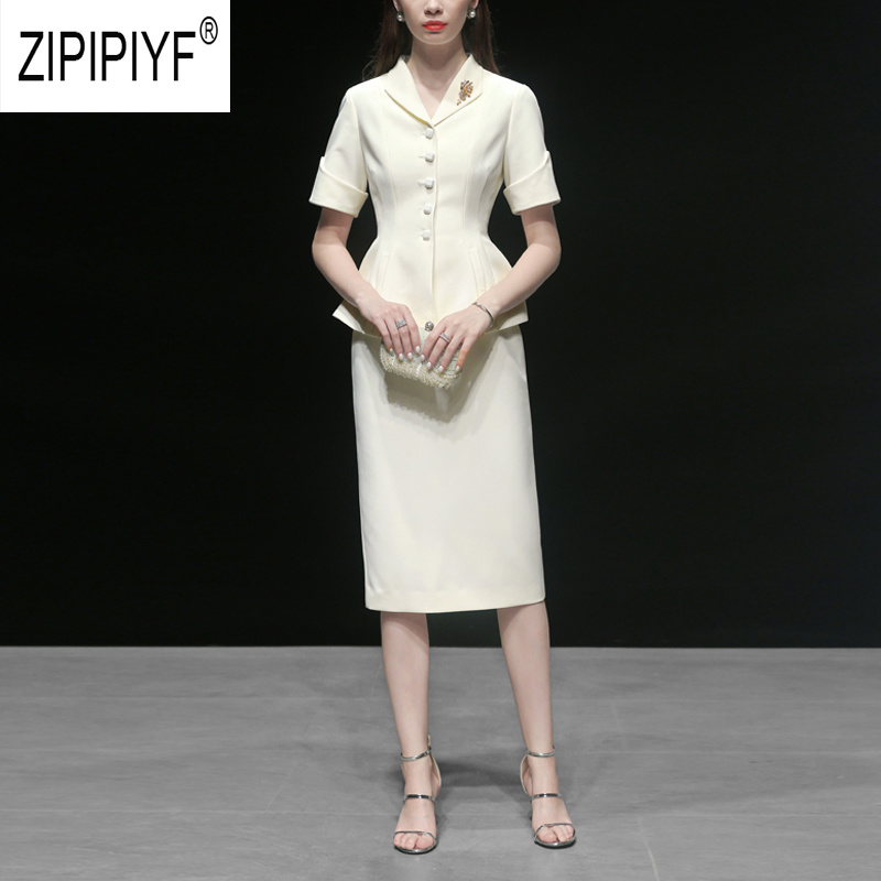 Noble Fashion 2019 Summer Women Sets Single breasted Turn Down Neck Short Sleeve White Blazers Top