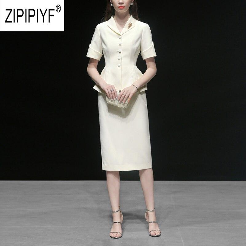 고귀한 패션 2019 여름 여성 세트 싱글 브레스트 넥 짧은 소매 화이트 블레이저 탑 연필 짧은 스커트 z1872-에서여성 세트부터 여성 의류 의  그룹 1