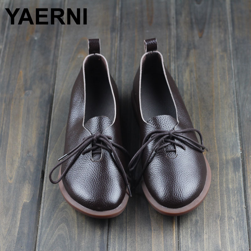 YAERNI Womans Shoes Spring/Autumn Genuine Leather Flat Shoes Round toe Slip on Flats Ladies Moccasins 2016 Fashion Footwear morazora spring autumn genuine leather flat shoes woman round toe platform fashion casual slip on women flats gold