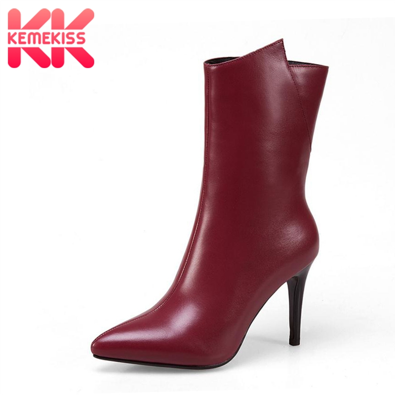 KemeKiss Size 33-43 High Heels Women Winter Boots Genuine Leather Woman Shoes Thin Heels Warm Mid Calf Boots Fashion Shoes цена