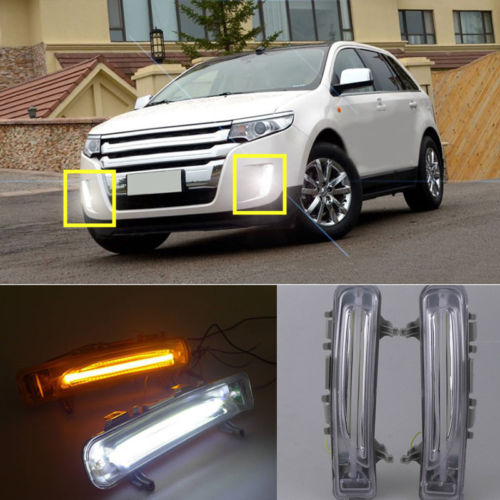 1 Set Daytime Running Lamps DRL Turn Signals Light For Ford Edge 2011-2014 for ford fusion 2013 16 guiding light daytime running lights drl turn signals 2x