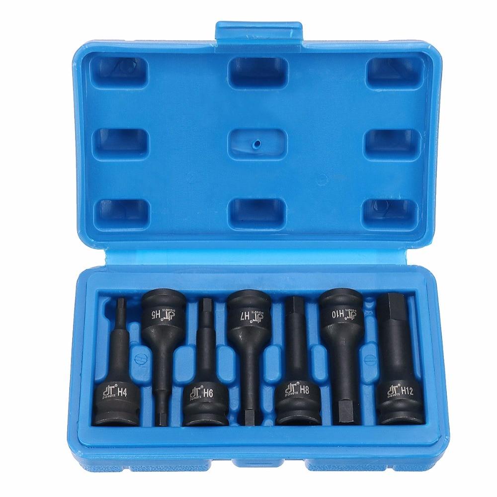 7PCS 3/8 Inch Metric Hex Driver Impact Socket Bit Set rdeer socket set 38 pcs 3 8 inch metric ratchet driver driver socket wrench tool set kit trox