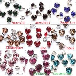 1400 Sets 8mm Glänzenden Tschechische Kristall Strass Niet Metall Basis Schnelle Studs Dekoration Erkenntnisse Für Kleidung Bag Leather
