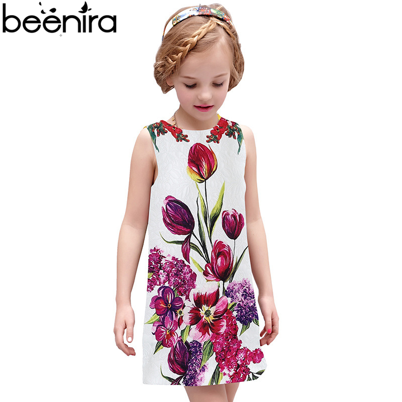 BEENIRA Summer Girls Flower Dress Brand BabyHandmade Children Princess Costumes kids Robe Enfant Girls Clothes High Quality new girls dress brand summer clothes ice cream print costumes sleeveless kids clothing cute children vest dress princess dress