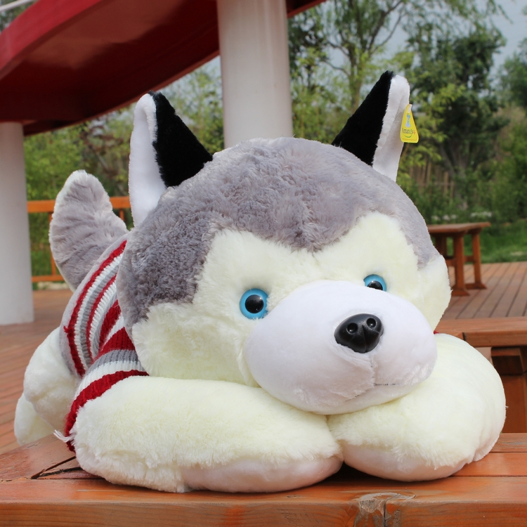 Super cute 1pc 50cm cartoon sweater Husky huskies dog creative plush doll pillow stuffed toy children Valentine's Day gift aqua husky super matc
