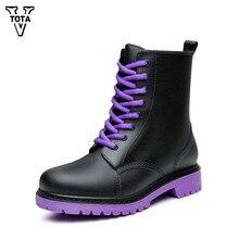 Vtota Резиновая женская обувь Водонепроницаемый женские ботинки на резиновой подошве с перекрестной шнуровкой непромокаемые ботинки женская уличная повседневная обувь на платформе CD2