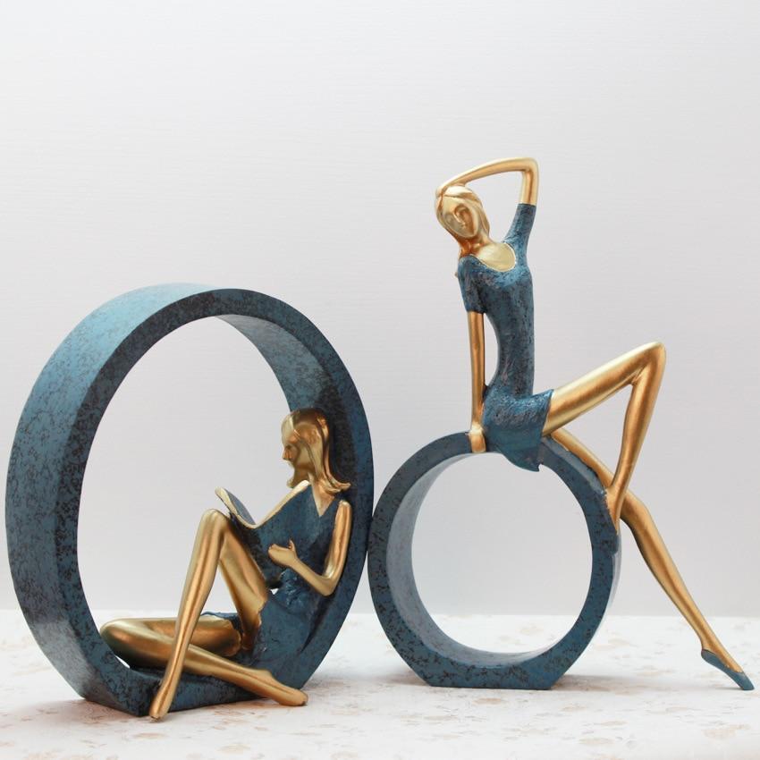 Sculpture Moderne résine de conception pour décoration d'intérieur Décoratif Statues Ballet Figurine Artisanat