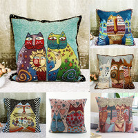 PanlongHome National Wind Double Sided Tiger Cat Pillow Cotton And Jacquard Embroidery Pillowcase Office Sofa Cushions