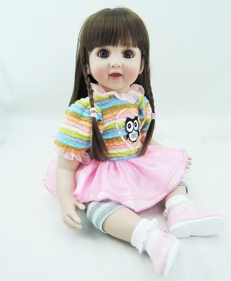 Pursue 24/60 cm Beautiful Brown Hair Soft Vinyl Silicone Reborn Toddler Baby Girl Doll Toys for Children with Cute Owl Pattern original winx club bloom musa beautiful girl magiche fan doll collection toys
