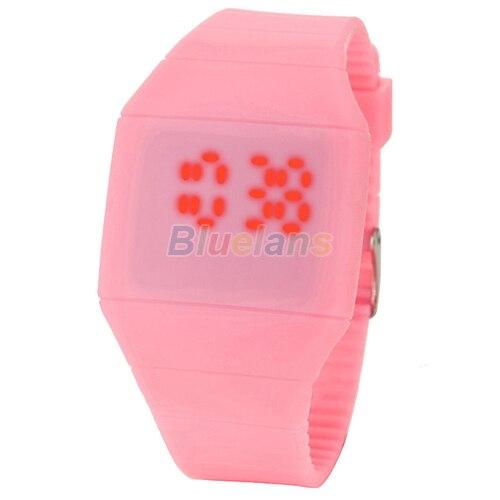 Luksusowe ultra-cienkie męskie Lady kobiety dotykowy cyfrowy czerwony Led silikonowy zegarek sportowy na rękę pasek silikonowy innowacyjny przedmiot 027R