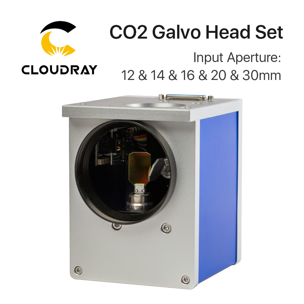 Cloudray CO2 Laser Scanning Galvo Head 10.6um Input Aperture 10mm 12mm 16mm 20mm 30mm Galvanometer Scanner with Power Supply good quality scanboxpt3e8 10 6d 8 5mm aperture 10 6um co2 laser engraving supplies digital signal collimator mirror galvanometer