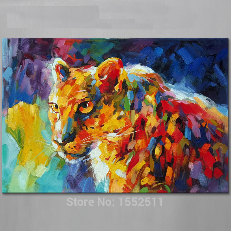 Animal Cheetah Oil painting On Canvas Painting For Living Room Wall ...