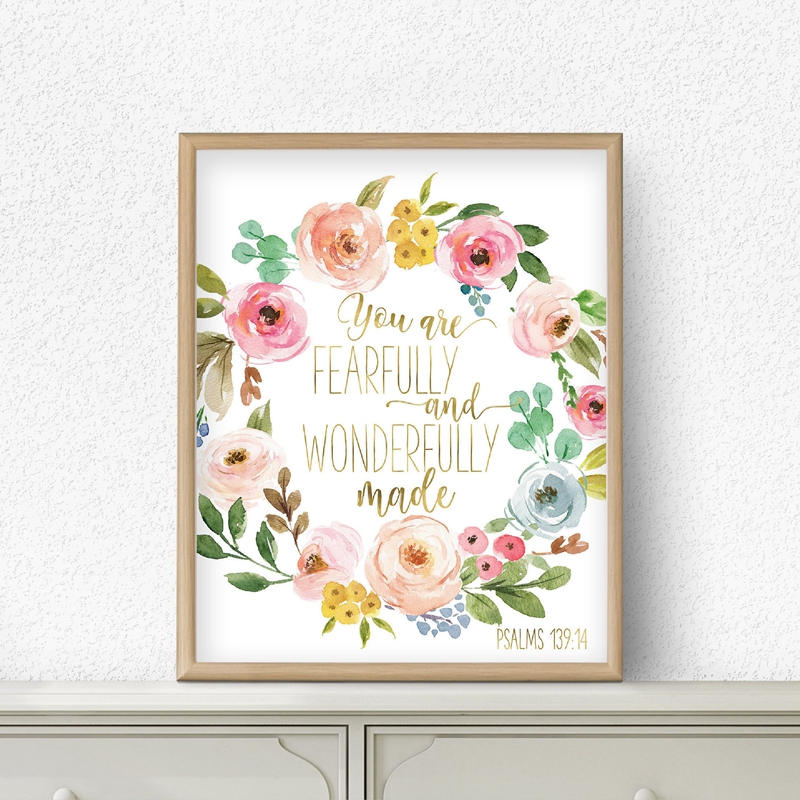 Bible Verse Psalm 139:14 Scripture Nursery Wall Art Canvas Painting Pictures Watercolor Flowers Prints Poster Baby Girl Decor