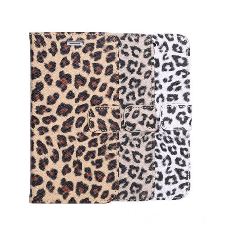 Leopard Pattern Skin With Card Holder Stand Wallet Case For iPhone 6 Plus 6S Plus 5.5 inch Protective mobile phone bags