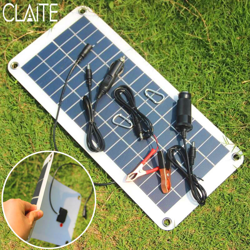 US $25 54 34% OFF|CLAITE 10 5W 18V Polycrystalline Solar Panel Charger  Sunpower Solar Cells For Camping Car 12V Battery 5V Mobile Phone  Solarparts-in