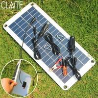 CLAITE 10.5W 18V Polycrystalline Solar Panel Charger Sunpower Solar Cells For Camping Car 12V Battery 5V Mobile Phone Solarparts