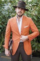 2017 Ultimo Cappotto Mutanda Disegni Lino Arancione Abito da Uomo Causale Beach semplice Slim Fit Uomo Su Misura Smoking 2 Pezzo Terno Masculino Ma6