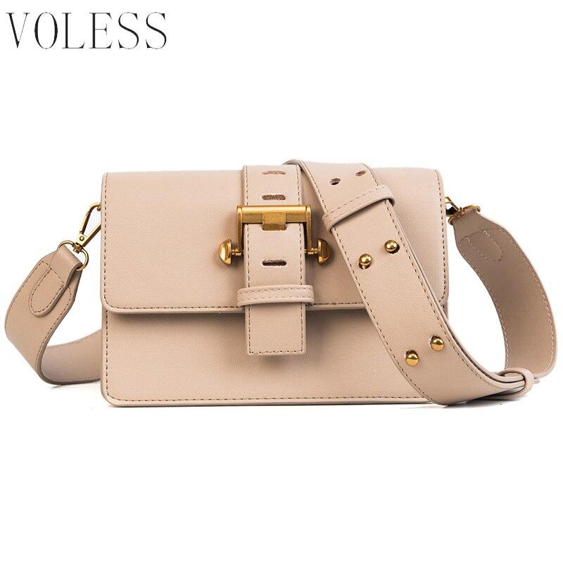 VOLESS PU Leather Women Shoulder Bags Small Metal Lock Crossbody Bags Wide Strap Messenger Bags Retro Rivet Flap Bags Sac A Main