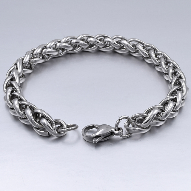Men's Bracelet & Bangle 2018 Christmas Gift Stainless Steel Bracelet Silver Color Link Wheat Double Chain Jewelry Dropshipping
