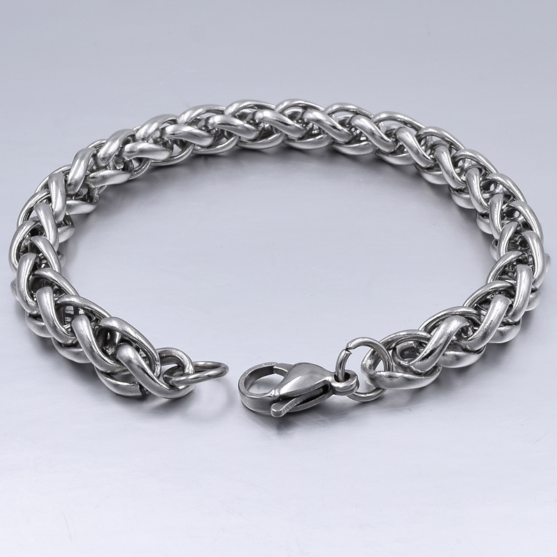 Men's Bracelet & Bangle 2019 Christmas Gift Stainless Steel Bracelet Silver Color Link Wheat Double Chain Jewelry Dropshipping
