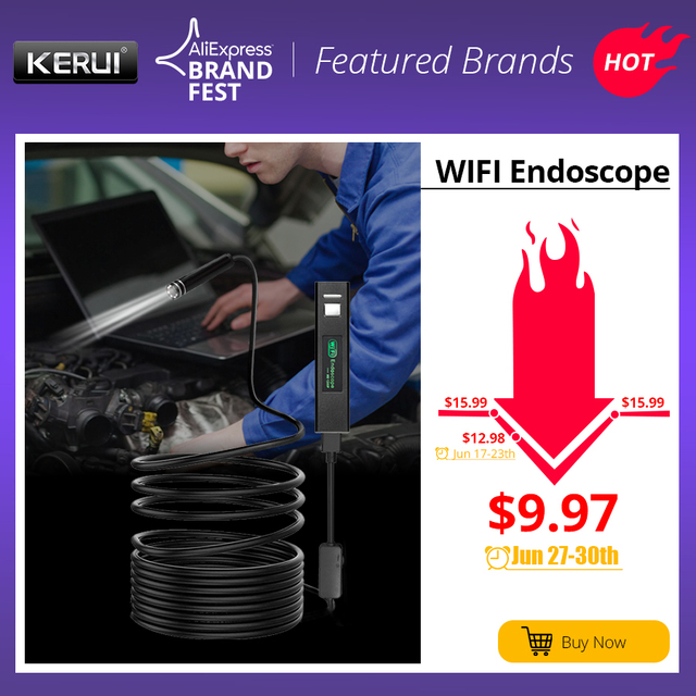 KERUI WIFI endoskop kamera Mini wodoodporny miękki kabel kamera inspekcyjna 8mm 1 M endoskop USB boroskop IOS endoskop dla Iphone