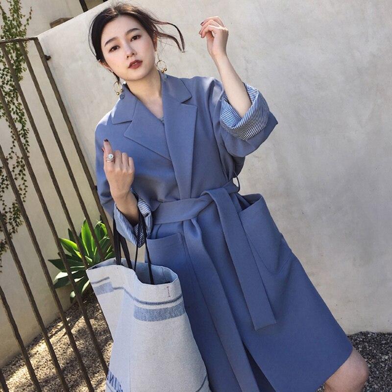 High Quality Overcoat Women Fashion Long Suit Collar Windbreaker Spring Women's Large size Loose coat Elegant Woman   Trench   coat