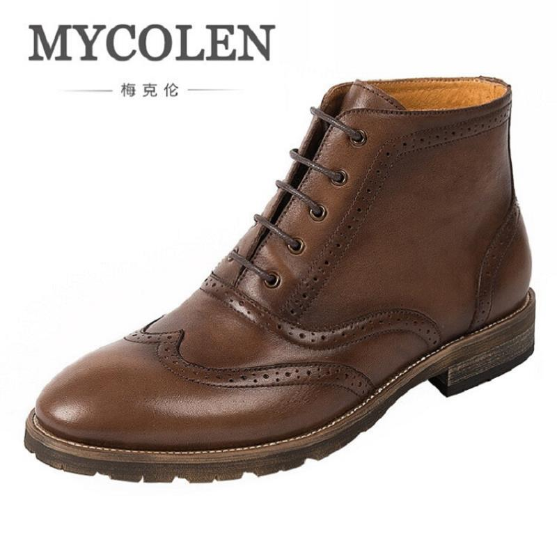 MYCOLEN High Quality Men Boots Winter Casual Shoes Leather Fashion Boots Motorcycle Boot Comfortable Men Shoes Askeri Bot gram epos men casual shoes top quality men high top shoes fashion breathable hip hop shoes men red black white chaussure hommre