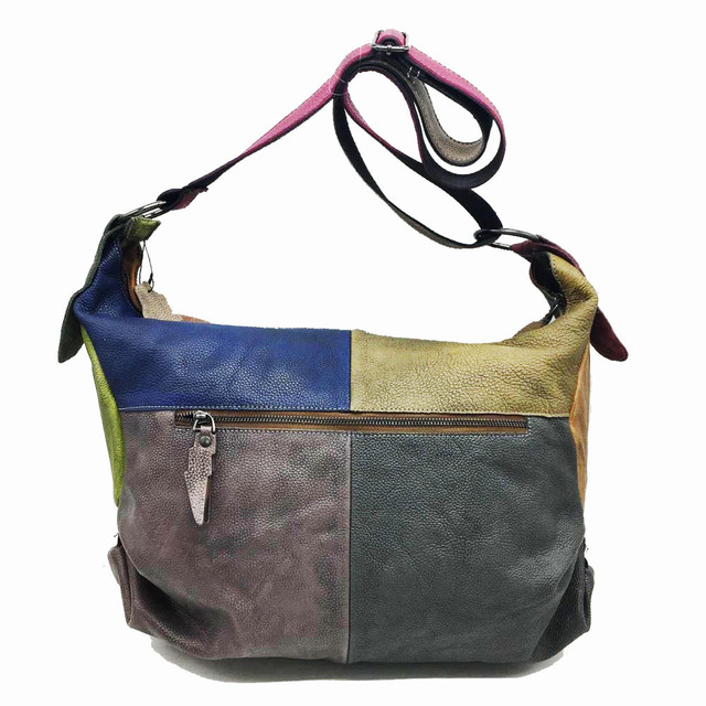 Patchwork Cowhide Leather Hobo Bag Women Casual Big Soft Cowhide Leather Slouch Bag Female Fashion Genuine Leather Shoulder Bag 4