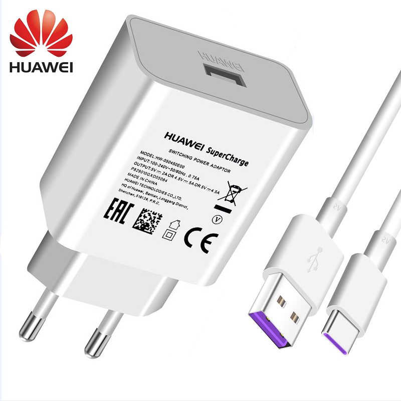 Original Huawei 4.5 V 5A Supercharge Quick Charger สำหรับ Huawei P20 Pro P20 Lite Mate 10 Mate 20 Pro 5A ประเภท C - สาย