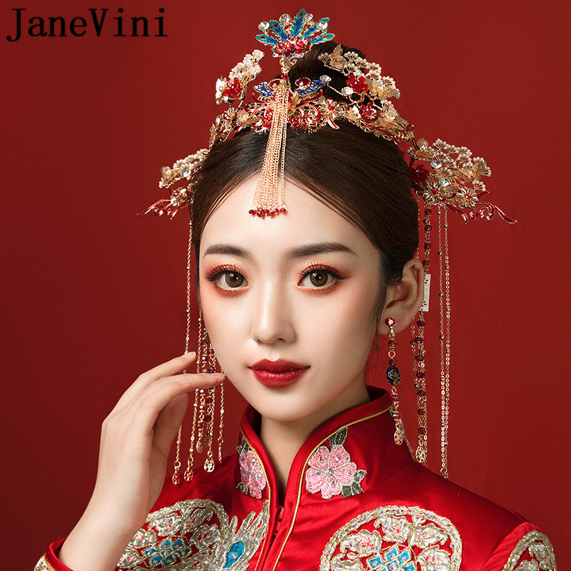 JaneVini Vintage chinois rouge Phoenix couronne coiffure de mariée ancienne épingle à cheveux avec boucles d'oreilles mariée bijoux de mariage accessoires de cheveux