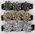 Oro al por mayor 2017 nueva moda negro color de mujeres cintura Ancha de sellado cinturón Retro de moda de lujo crystal cinturón elástico accesorios