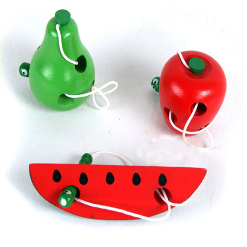 Baby Child Educational Toys Fun Wooden Toy Worm Eat Fruit Apple Pear Early Learning Teaching Aid Baby Toy Gift