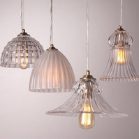 ZYY 1pcsAmerican Retro Glass Pendant Lights Restaurant Bar Hallway Aisle Balcony LED Vintage Pendant Lamp E27