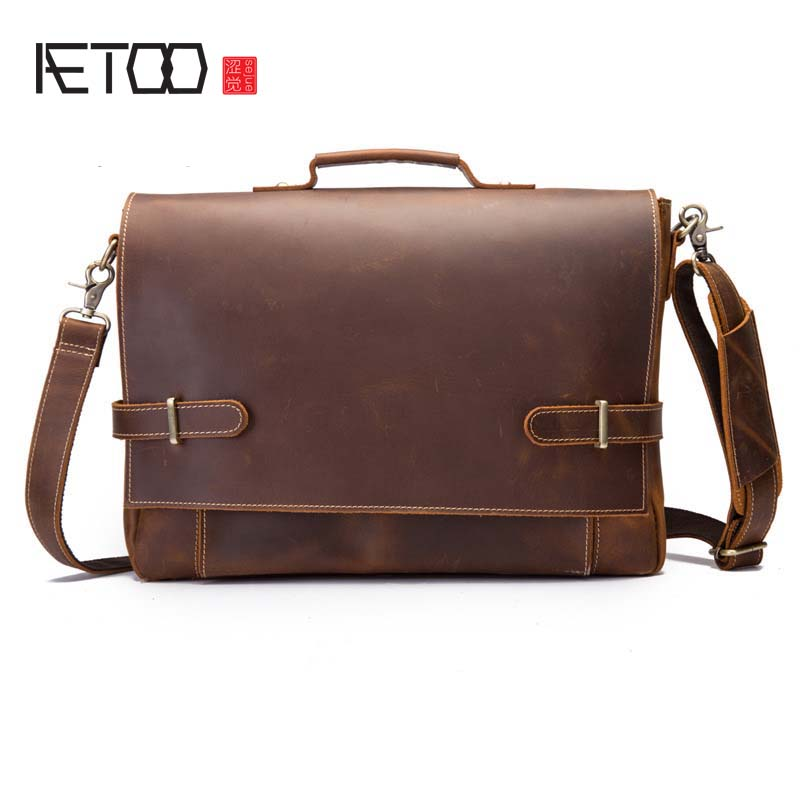 AETOO Factory direct new leather men bag men Messenger bag shoulder bag header leather men's casual bag 208 bag messenger bag casual laptop business messenger bag factory direct new 2017 high end fashion men s shoulder bag leather