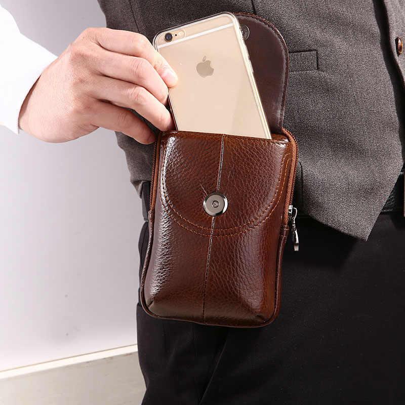 男性の革の牛革ヴィンテージ旅行携帯携帯電話ケースカバーベルトポーチ財布ファニーパックウエストバッグ