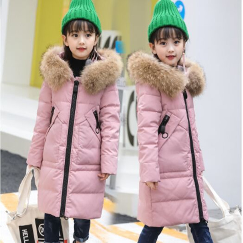2018 NEW Children's Down Jacket Girls Coat Fashion Fur Collar Hooded Winter Girls Jacket Solid Long Thick Warm Down & Parkas new 2016 plus size winter women really fox fur collar slim long duck down coat hooded keep warm down parkas ce0322