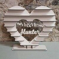 Personalizado Coração Sr. & Sra. Ferrero Rocher Coração Stand de Exibição Independente Vintage 3D Decorações de Casamento Nupcial do Chuveiro