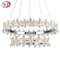 Youlaike Современные хрустальные люстры для гостиная роскошные светодио дный led висит освещение в помещении светильники двойной кольца де Cristal