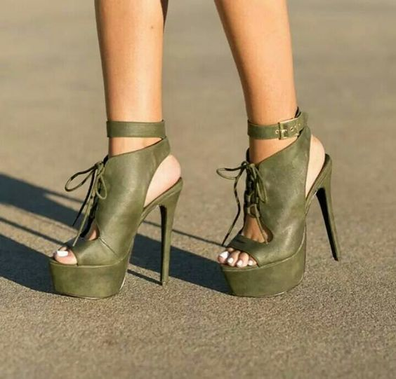 Sestito Woman Sexy Thick Platform Army Green Ankle Strap Sandals Ladies Open Toe Buckle Strap Super High Heels Slingback Shoes black solid open toe ladies wedge sandals summer 2015 ankle buckle strap rivets high heels high platform woman shoes handmade