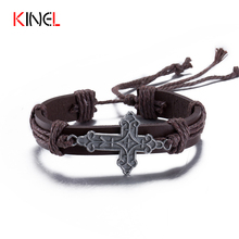 New Design Hand Woven Leather Vintage Cross Bracelet Fashion Multilayer Adjustable Steampunk Charm Mens Bangles Bracelets