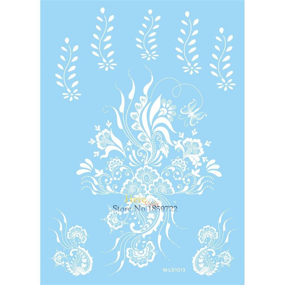 Exquisite Waterproof Henna Tattoo White Flower Decals Design Body