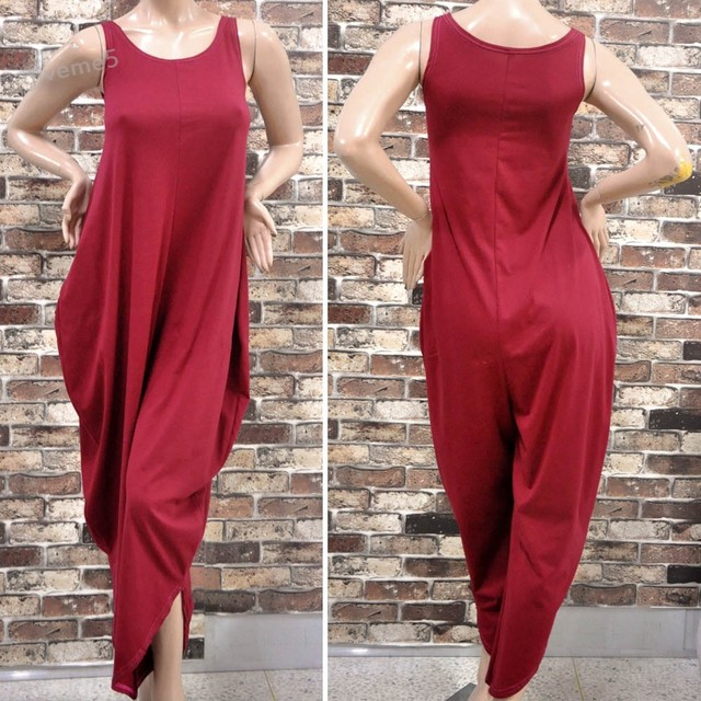 Rompers Womens Jumpsuit Ladies Sexy Sleeveless Red O-Neck Casual Loose Party Jumpsuit S-L 30