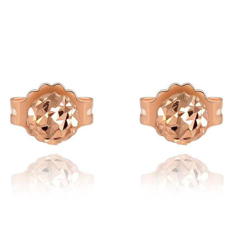 18K Gold Fashion Rose Stud Earrings for Women Minimalist Small Bead Gold Rose Gold Color 18K Gold Small Stud Earrings Jewelry цена
