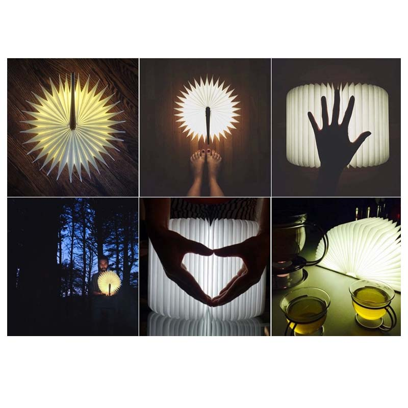 promotion!! factory outlets 3pcs USB Wooden Foldable LED USB Rechargeable Luminaria Book Nightlight Booklights For Home Decor 3pcs lot wooden foldable led nightlight booklight