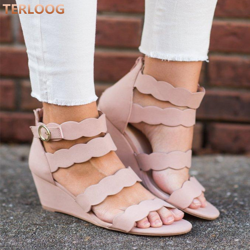 Sandals Shoes Mid-Heels Women Wedges Open-Toe Summer Casual Mujer Gladiator