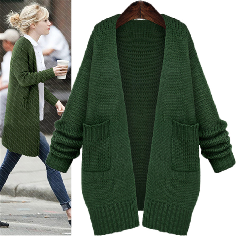 2018 Autumn Casual Women Knitted Cardigan Long Sleeve Green Pink ...