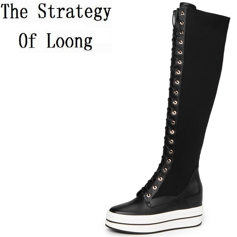 Lace Up Pure Color Short Plush Genuine Leather High Heel Women Long Boots 2017 New Real Leather Zip Winter Chunky Boot ZY171010